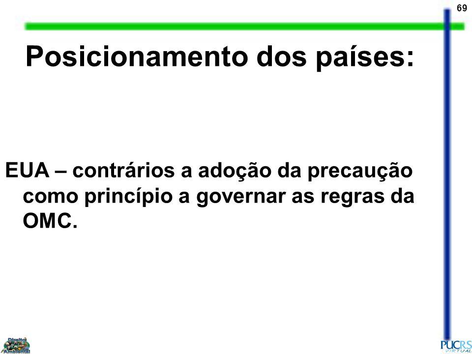 69 EUA – contrários a adoção da precaução como princípio a governar as regras da OMC. Posicionamento dos países: