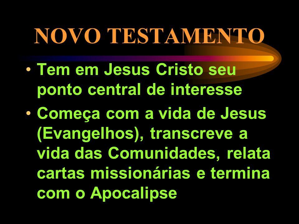 NOVO TESTAMENTO Tem em Jesus Cristo seu ponto central de interesse Começa com a vida de Jesus (Evangelhos), transcreve a vida das Comunidades, relata cartas missionárias e termina com o Apocalipse