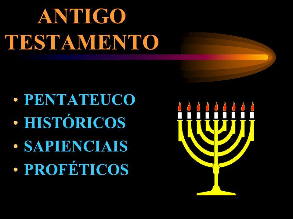 ANTIGO TESTAMENTO PENTATEUCO HISTÓRICOS SAPIENCIAIS PROFÉTICOS