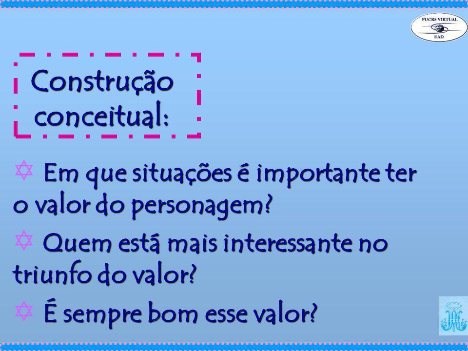 Construção conceitual: Em que situações é importante ter o valor do personagem? Y Em que situações é importante ter o valor do personagem? Quem está m