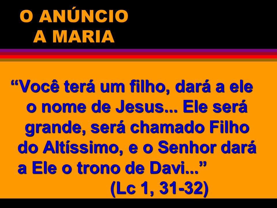 O ANÚNCIO A MARIA Você terá um filho, dará a ele o nome de Jesus... Ele será grande, será chamado Filho do Altíssimo, e o Senhor dará a Ele o trono de