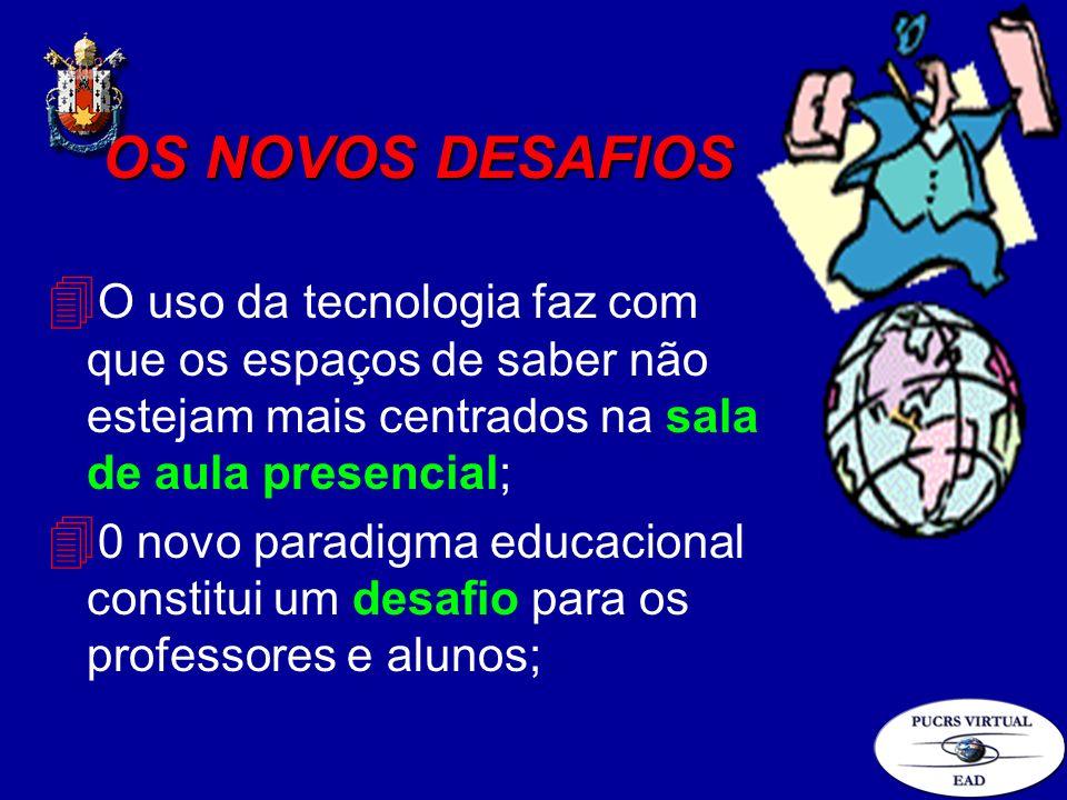 OS NOVOS DESAFIOS 4 O uso da tecnologia faz com que os espaços de saber não estejam mais centrados na sala de aula presencial; 4 0 novo paradigma educ