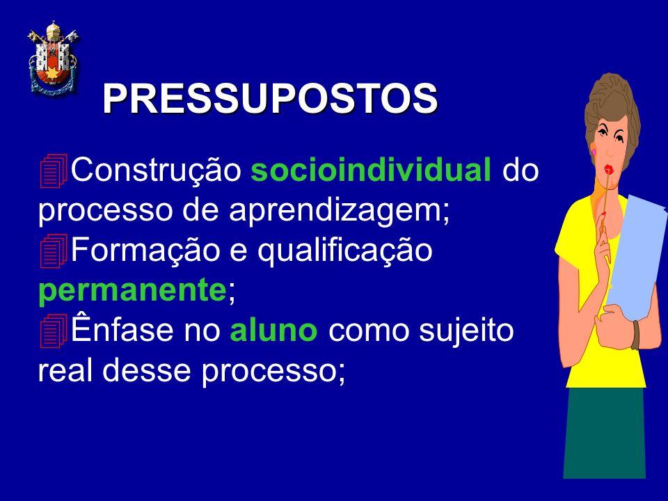 4 Construção socioindividual do processo de aprendizagem; 4 Formação e qualificação permanente; 4 Ênfase no aluno como sujeito real desse processo; PR