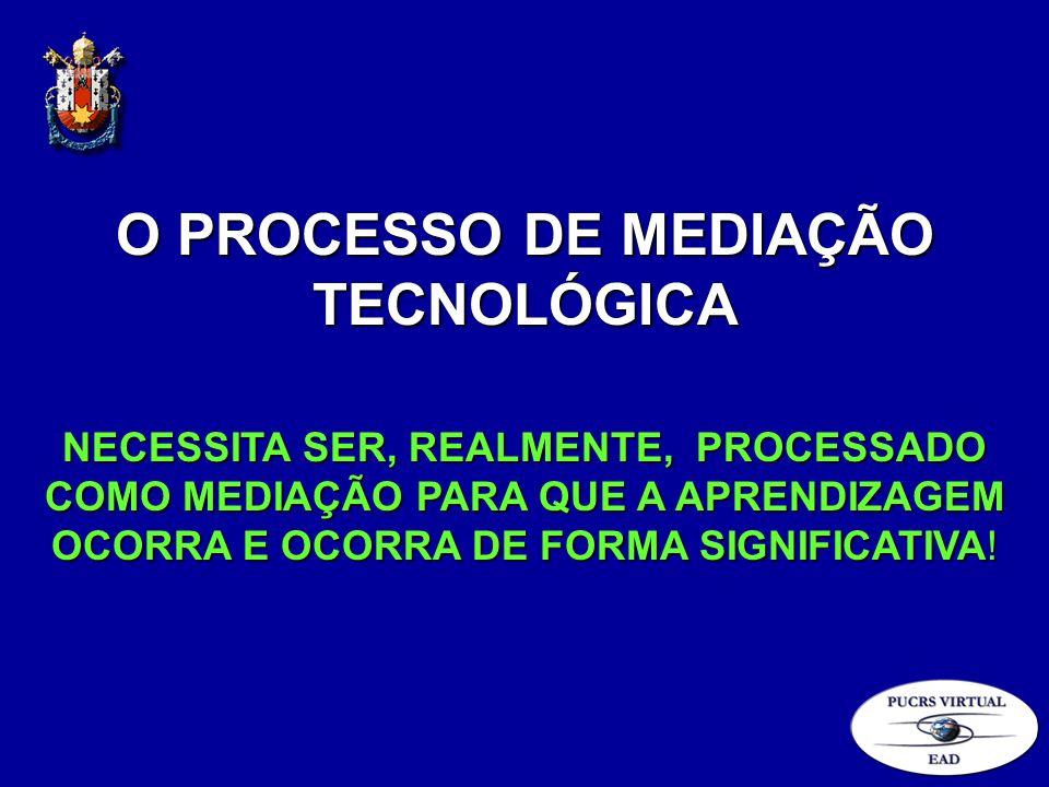 O PROCESSO DE MEDIAÇÃO TECNOLÓGICA NECESSITA SER, REALMENTE, PROCESSADO COMO MEDIAÇÃO PARA QUE A APRENDIZAGEM OCORRA E OCORRA DE FORMA SIGNIFICATIVA!
