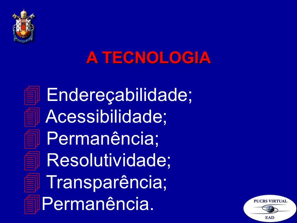 4 Endereçabilidade; 4 Acessibilidade; 4 Permanência; 4 Resolutividade; 4 Transparência; 4 Permanência. A TECNOLOGIA