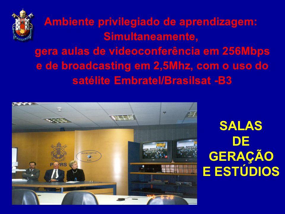Ambiente privilegiado de aprendizagem: Simultaneamente, gera aulas de videoconferência em 256Mbps e de broadcasting em 2,5Mhz, com o uso do satélite E