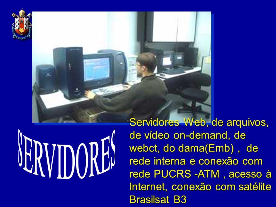 Servidores Web, de arquivos, de vídeo on-demand, de webct, do dama(Emb), de rede interna e conexão com rede PUCRS -ATM, acesso à Internet, conexão com