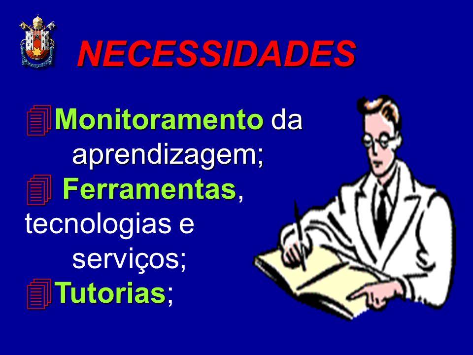 4 Monitoramento da aprendizagem; 4 Ferramentas 4 Ferramentas, tecnologias e serviços; 4 Tutorias 4 Tutorias; NECESSIDADES