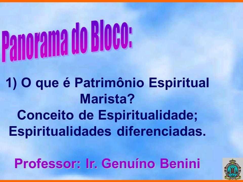 1) O que é Patrimônio Espiritual Marista? Conceito de Espiritualidade; Espiritualidades diferenciadas. Professor: Ir. Genuíno Benini