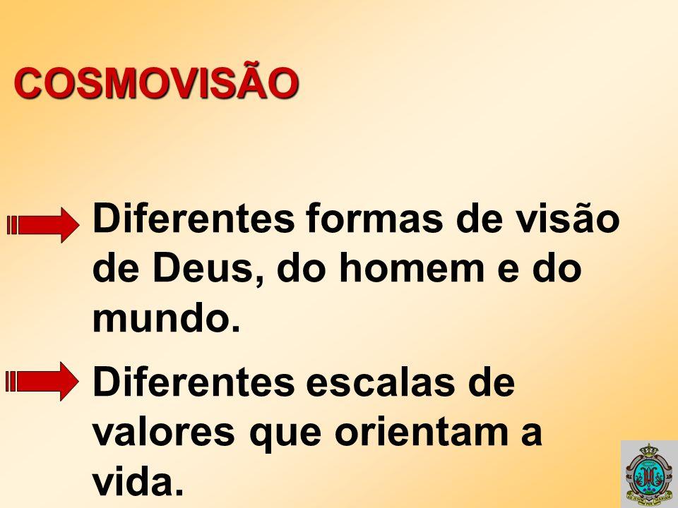 COSMOVISÃO Diferentes formas de visão de Deus, do homem e do mundo. Diferentes escalas de valores que orientam a vida.