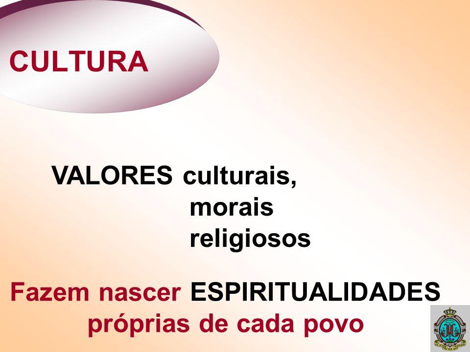 CULTURA VALORES culturais, morais religiosos ESPIRITUALIDADES Fazem nascer ESPIRITUALIDADES próprias de cada povo