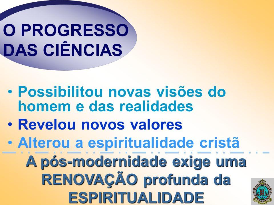 O PROGRESSO DAS CIÊNCIAS Possibilitou novas visões do homem e das realidades Revelou novos valores Alterou a espiritualidade cristã A pós-modernidade