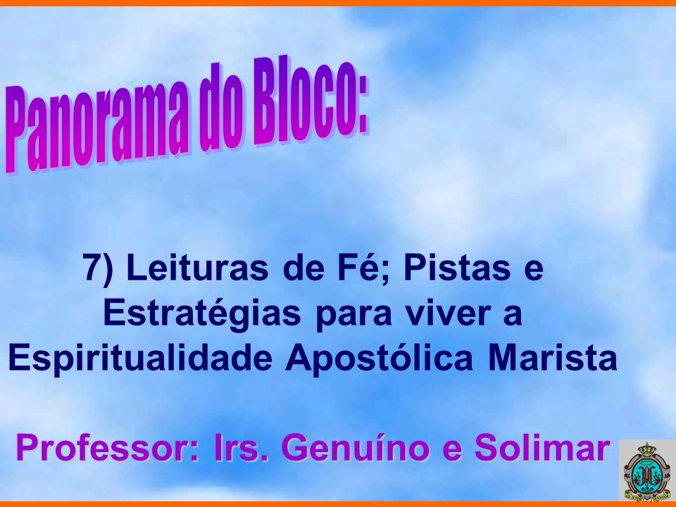 7) Leituras de Fé; Pistas e Estratégias para viver a Espiritualidade Apostólica Marista Professor: Irs. Genuíno e Solimar
