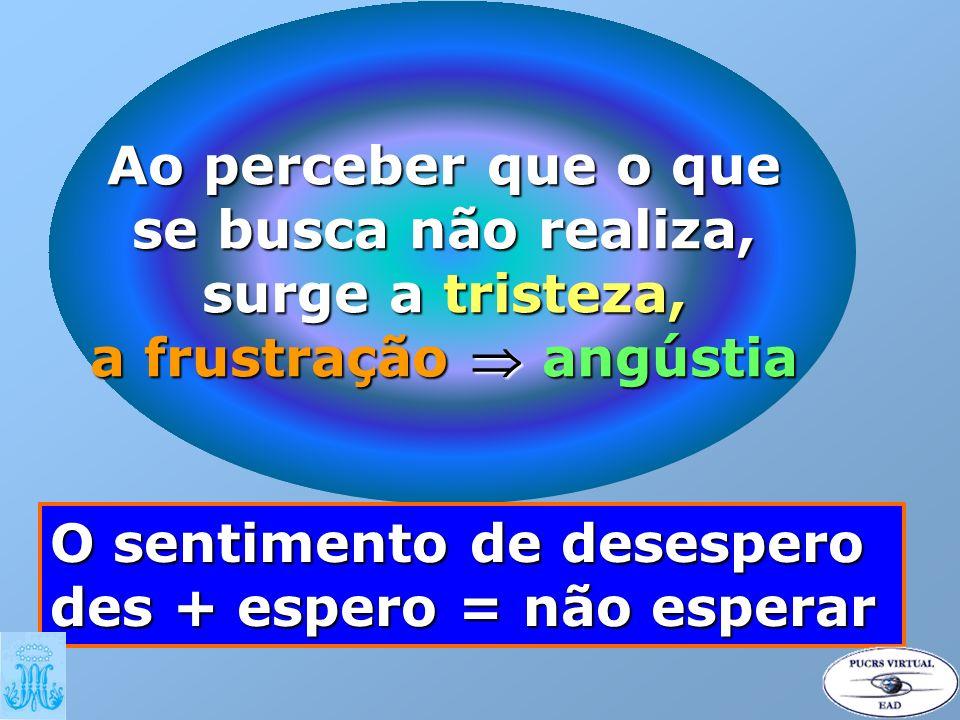 Ao perceber que o que se busca não realiza, surge a tristeza, a frustração angústia O sentimento de desespero des + espero = não esperar