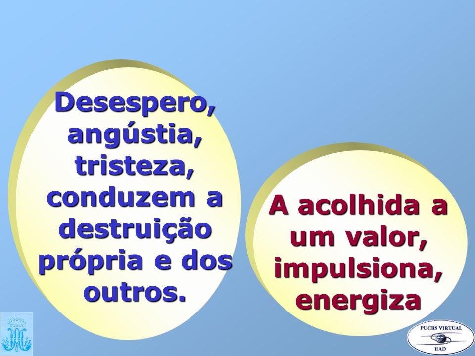 Desespero, angústia, tristeza, conduzem a destruição própria e dos outros. A acolhida a um valor, impulsiona, energiza