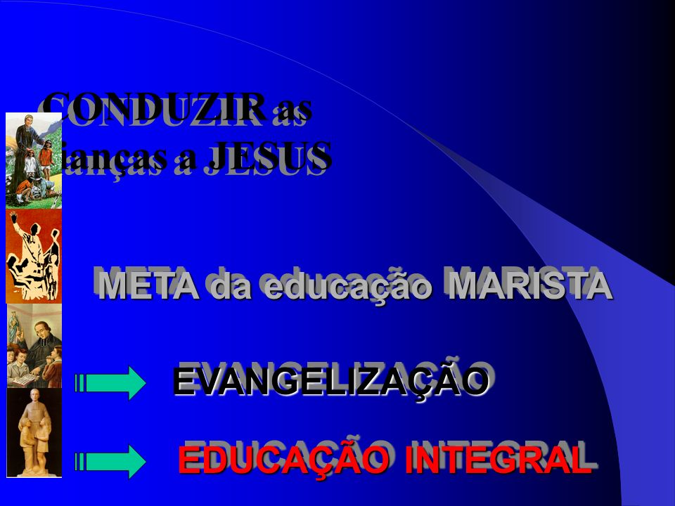 CONDUZIR as crianças a JESUS CONDUZIR as crianças a JESUS META da educação MARISTA EVANGELIZAÇÃOEVANGELIZAÇÃO EDUCAÇÃO INTEGRAL EDUCAÇÃO INTEGRAL