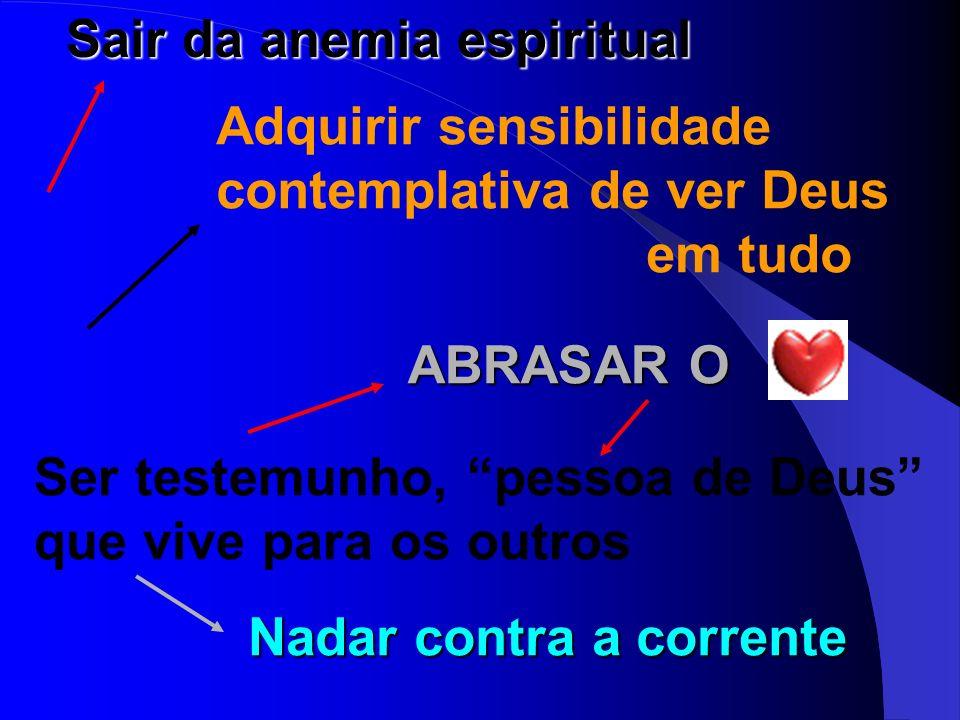 Sair da anemia espiritual Adquirir sensibilidade contemplativa de ver Deus em tudo ABRASAR O Ser testemunho, pessoa de Deus que vive para os outros Na