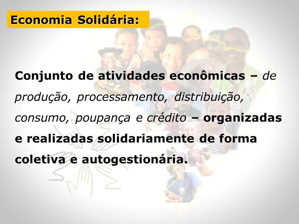 Conjunto de atividades econômicas – de produção, processamento, distribuição, consumo, poupança e crédito – organizadas e realizadas solidariamente de