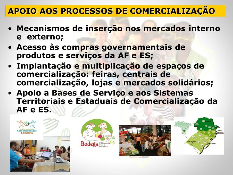 Mecanismos de inserção nos mercados interno e externo; Acesso às compras governamentais de produtos e serviços da AF e ES; Implantação e multiplicação