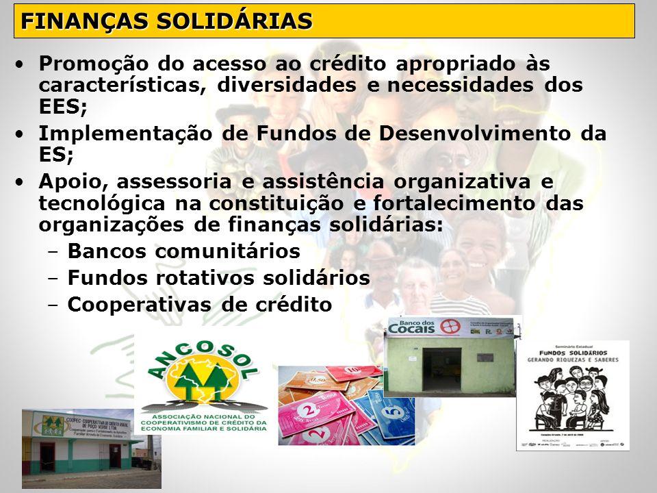 Promoção do acesso ao crédito apropriado às características, diversidades e necessidades dos EES; Implementação de Fundos de Desenvolvimento da ES; Ap