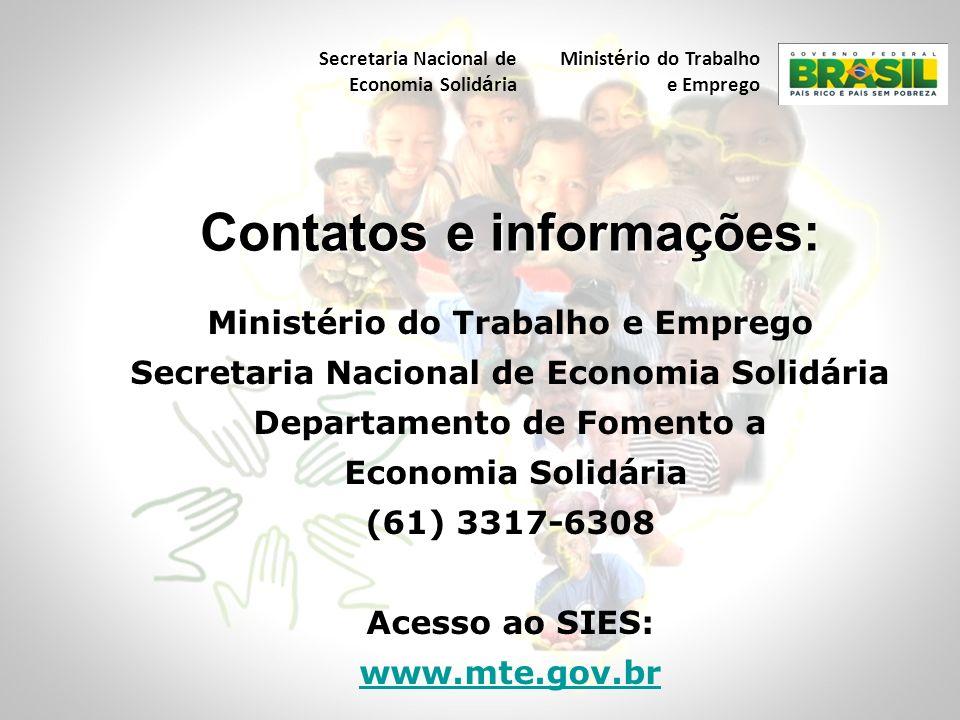 Ministério do Trabalho e Emprego Secretaria Nacional de Economia Solidária Departamento de Fomento a Economia Solidária (61) 3317-6308 Acesso ao SIES: