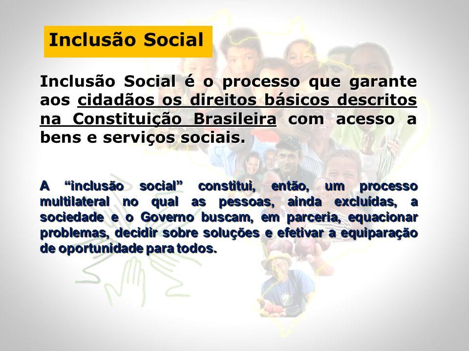 Inclusão Social Inclusão Social é o processo que garante aos cidadãos os direitos básicos descritos na Constituição Brasileira com acesso a bens e ser