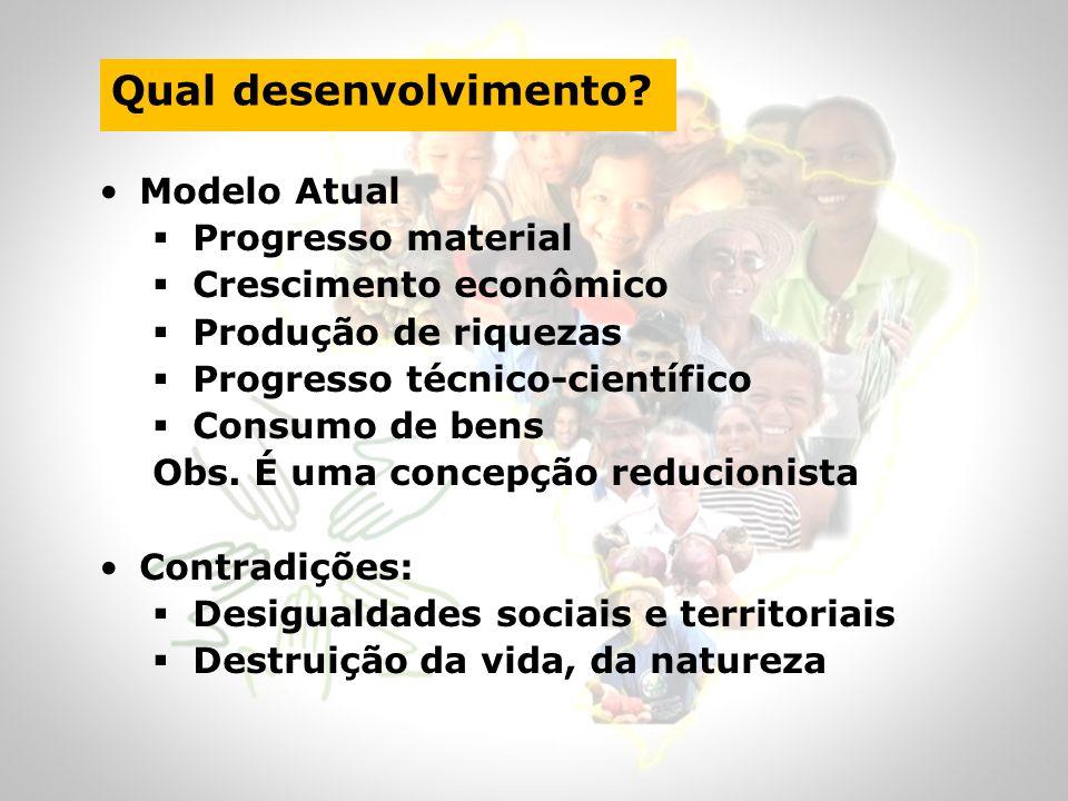 Qual desenvolvimento? Modelo Atual Progresso material Crescimento econômico Produção de riquezas Progresso técnico-científico Consumo de bens Obs. É u