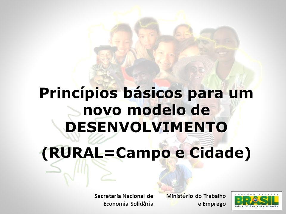 Princípios básicos para um novo modelo de DESENVOLVIMENTO (RURAL=Campo e Cidade) Secretaria Nacional de Economia Solid á ria Minist é rio do Trabalho