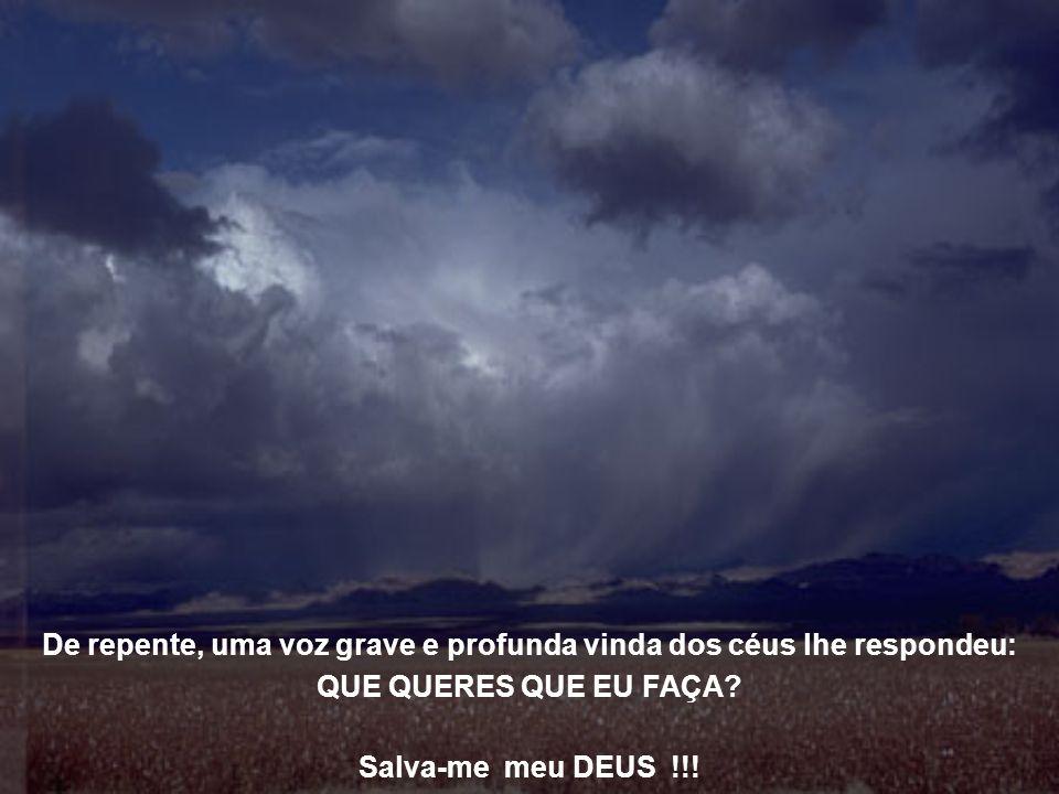 De repente, uma voz grave e profunda vinda dos céus lhe respondeu: QUE QUERES QUE EU FAÇA.