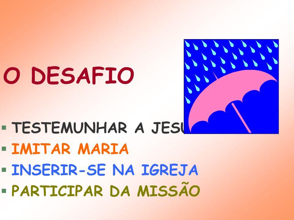 TESTEMUNHAR A JESUS IMITAR MARIA INSERIR-SE NA IGREJA PARTICIPAR DA MISSÃO O DESAFIO