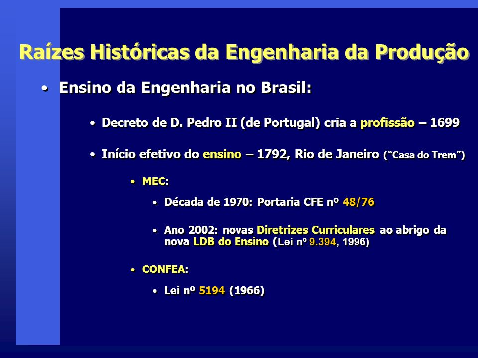 Ensino da Engenharia no Brasil: Decreto de D.