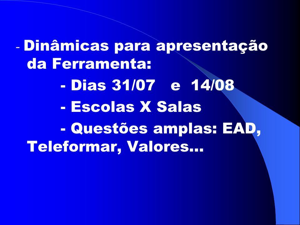 - Dinâmicas para apresentação da Ferramenta: - Dias 31/07 e 14/08 - Escolas X Salas - Questões amplas: EAD, Teleformar, Valores...