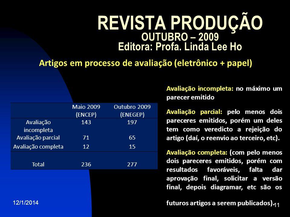 REVISTA PRODUÇÃO OUTUBRO – 2009 Editora: Profa. Linda Lee Ho 12/1/2014 11 Maio 2009 (ENCEP) Outubro 2009 (ENEGEP) Avaliação incompleta 143197 Avaliaçã