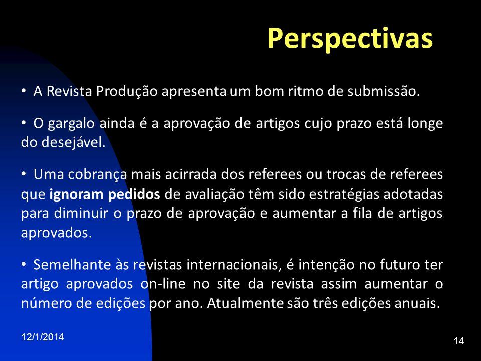 Perspectivas 12/1/2014 14 A Revista Produção apresenta um bom ritmo de submissão. O gargalo ainda é a aprovação de artigos cujo prazo está longe do de
