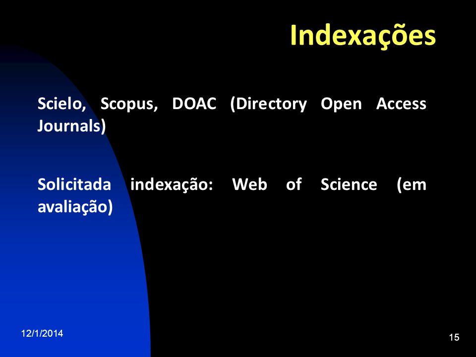 Indexações 12/1/2014 15 Scielo, Scopus, DOAC (Directory Open Access Journals) Solicitada indexação: Web of Science (em avaliação)