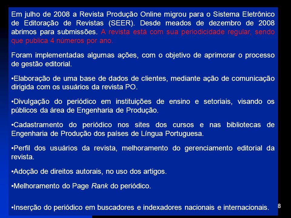 12/1/2014 18 Em julho de 2008 a Revista Produção Online migrou para o Sistema Eletrônico de Editoração de Revistas (SEER). Desde meados de dezembro de