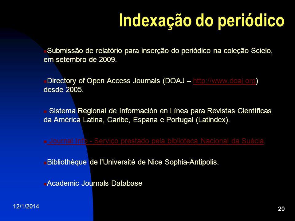 Indexação do periódico Submissão de relatório para inserção do periódico na coleção Scielo, em setembro de 2009. Directory of Open Access Journals (DO