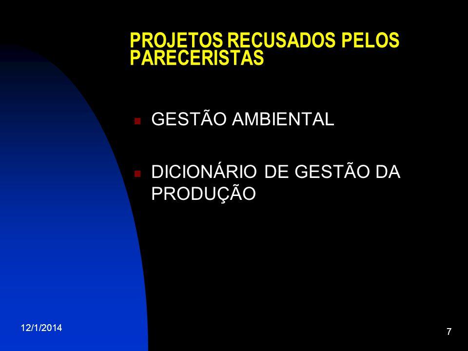 PROJETOS RECUSADOS PELOS PARECERISTAS GESTÃO AMBIENTAL DICIONÁRIO DE GESTÃO DA PRODUÇÃO 12/1/2014 7