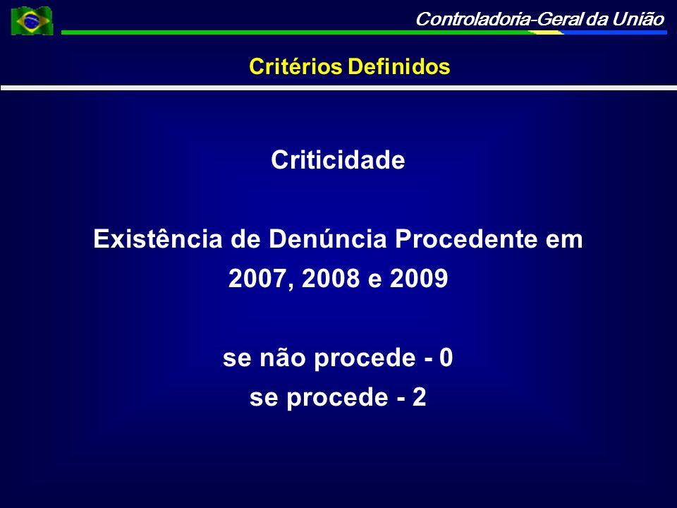 Controladoria-Geral da União Critérios Definidos Criticidade Existência de Denúncia Procedente em 2007, 2008 e 2009 se não procede - 0 se procede - 2