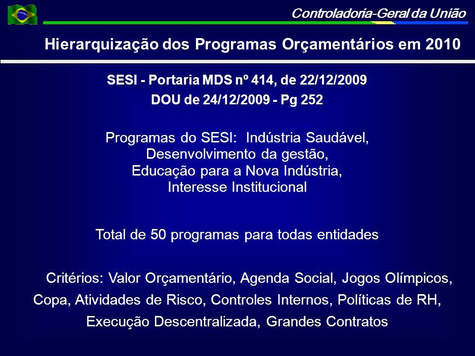 Controladoria-Geral da União SESI - Portaria MDS nº 414, de 22/12/2009 DOU de 24/12/2009 - Pg 252 Programas do SESI: Indústria Saudável, Desenvolvimen