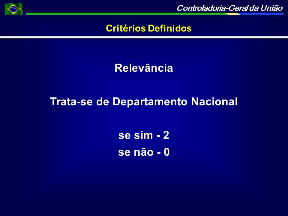 Controladoria-Geral da União Critérios Definidos Relevância Trata-se de Departamento Nacional se sim - 2 se não - 0
