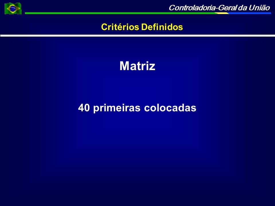 Controladoria-Geral da União Critérios Definidos Matriz 40 primeiras colocadas