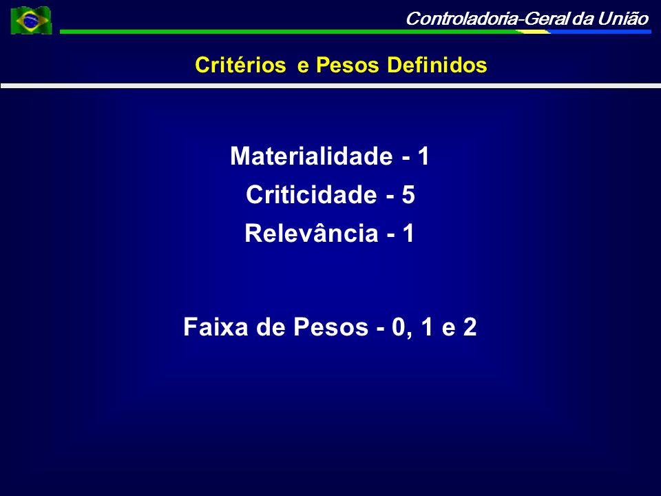 Controladoria-Geral da União Critérios Definidos Materialidade Receita Auferida no Exercício de 2009 menos que 50 mil - 0 entre 50 mil e 100 mil - 1 mais de 100 mil - 2