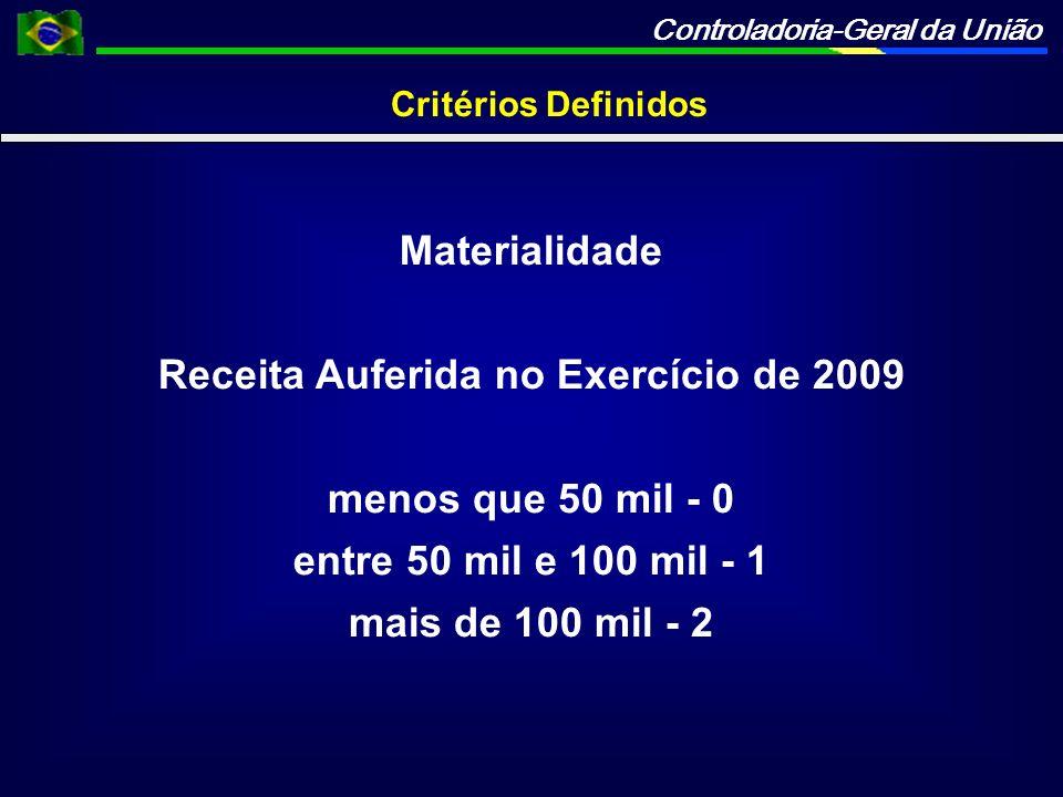 Controladoria-Geral da União Critérios Definidos Materialidade Receita Auferida no Exercício de 2009 menos que 50 mil - 0 entre 50 mil e 100 mil - 1 m