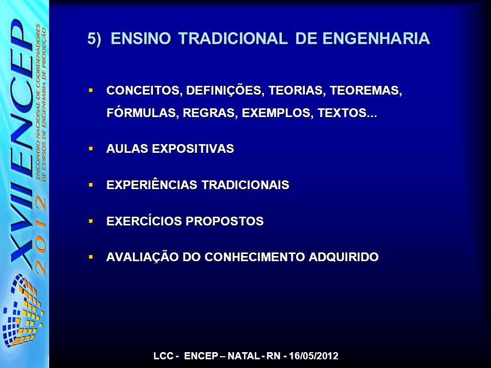 5) ENSINO TRADICIONAL DE ENGENHARIA CONCEITOS, DEFINIÇÕES, TEORIAS, TEOREMAS, FÓRMULAS, REGRAS, EXEMPLOS, TEXTOS... CONCEITOS, DEFINIÇÕES, TEORIAS, TE