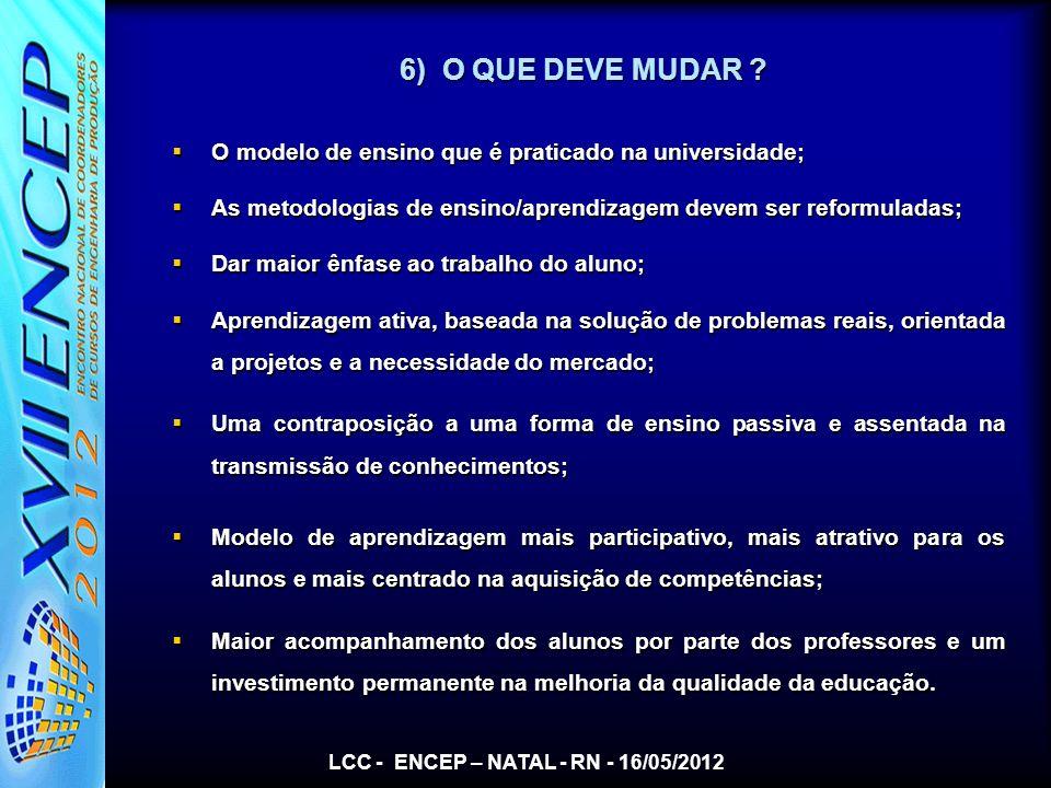 LCC - ENCEP – NATAL - RN - 16/05/2012 6) O QUE DEVE MUDAR ? O modelo de ensino que é praticado na universidade; O modelo de ensino que é praticado na
