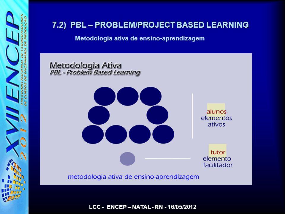 LCC - ENCEP – NATAL - RN - 16/05/2012 7.2) PBL – PROBLEM/PROJECT BASED LEARNING Metodologia ativa de ensino-aprendizagem