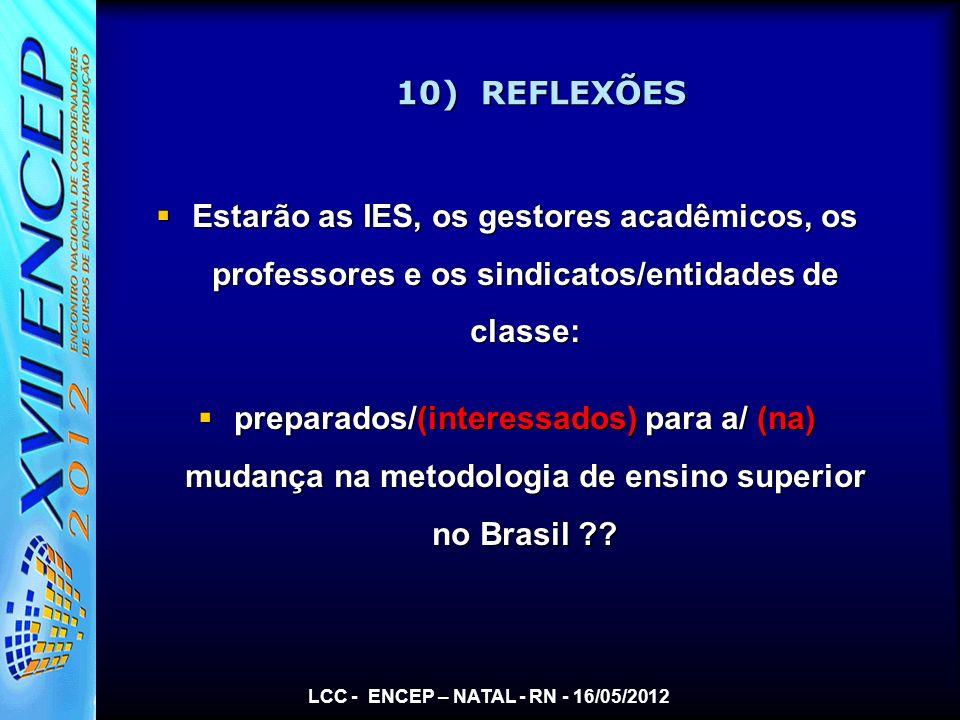 LCC - ENCEP – NATAL - RN - 16/05/2012 10) REFLEXÕES Estarão as IES, os gestores acadêmicos, os professores e os sindicatos/entidades de classe: Estarã