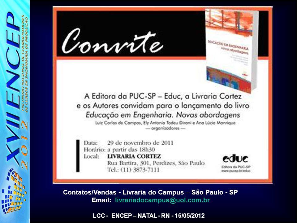 Contatos/Vendas - Livraria do Campus – São Paulo - SP Email: livrariadocampus@uol.com.br