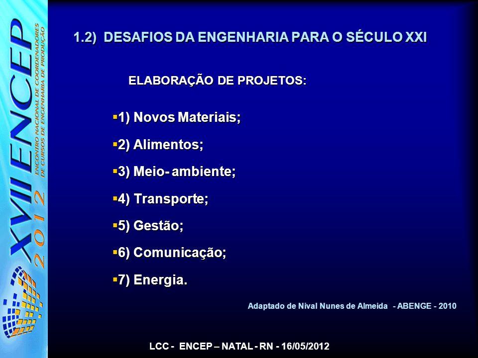 1.2) DESAFIOS DA ENGENHARIA PARA O SÉCULO XXI ELABORAÇÃO DE PROJETOS: ELABORAÇÃO DE PROJETOS: 1) Novos Materiais; 1) Novos Materiais; 2) Alimentos; 2)